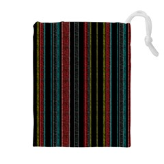 Multicolored Dark Stripes Pattern Drawstring Pouches (extra Large)