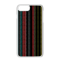 Multicolored Dark Stripes Pattern Apple Iphone 8 Plus Seamless Case (white)