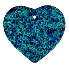 Teal Leafs Ornament (heart)