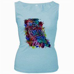Rainbow Owl Women s Baby Blue Tank Top