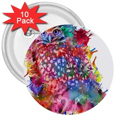 Rainbow Owl 3  Buttons (10 Pack)
