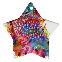 Rainbow Owl Star Ornament (two Sides)