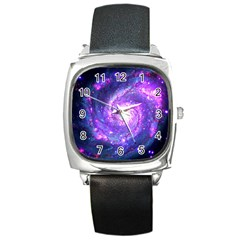Ultra Violet Whirlpool Galaxy Square Metal Watch