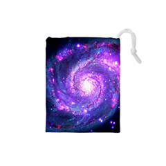 Ultra Violet Whirlpool Galaxy Drawstring Pouches (small)