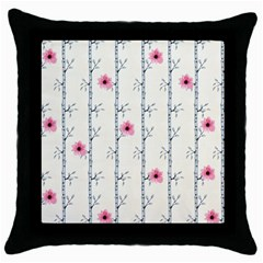 Minimalist Floral Throw Pillow Case (black)
