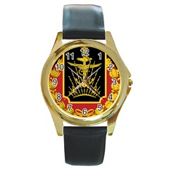 Logo Of Imperial Iranian Ministry Of War Round Gold Metal Watch