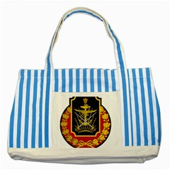 Logo Of Imperial Iranian Ministry Of War Striped Blue Tote Bag