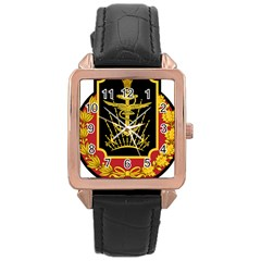Logo Of Imperial Iranian Ministry Of War Rose Gold Leather Watch