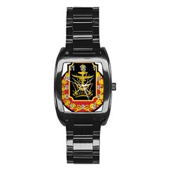 Logo Of Imperial Iranian Ministry Of War Stainless Steel Barrel Watch