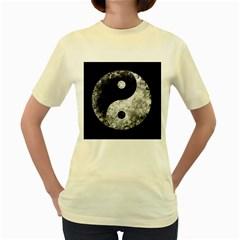 Grunge Yin Yang Women s Yellow T Shirt