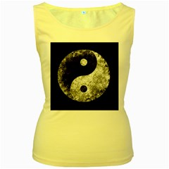 Grunge Yin Yang Women s Yellow Tank Top