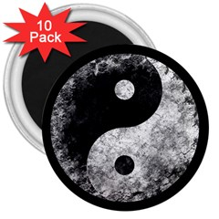 Grunge Yin Yang 3  Magnets (10 Pack)