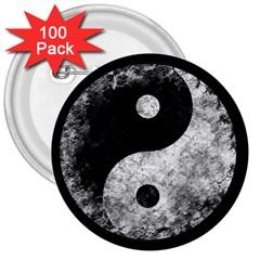 Grunge Yin Yang 3  Buttons (100 Pack)