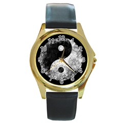 Grunge Yin Yang Round Gold Metal Watch