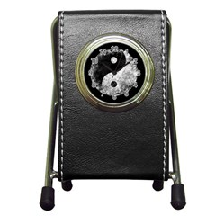 Grunge Yin Yang Pen Holder Desk Clocks