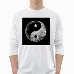 Grunge Yin Yang White Long Sleeve T Shirts