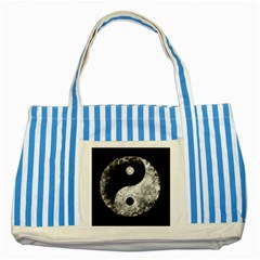 Grunge Yin Yang Striped Blue Tote Bag