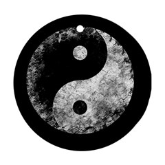 Grunge Yin Yang Round Ornament (two Sides)