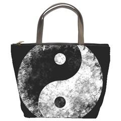 Grunge Yin Yang Bucket Bags
