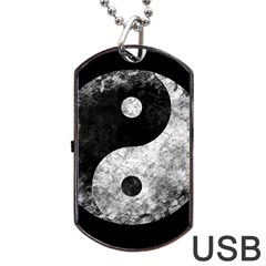 Grunge Yin Yang Dog Tag Usb Flash (one Side)