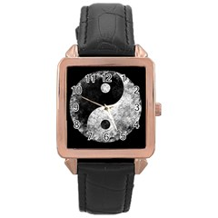 Grunge Yin Yang Rose Gold Leather Watch