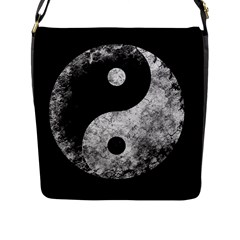 Grunge Yin Yang Flap Messenger Bag (l)