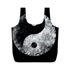 Grunge Yin Yang Full Print Recycle Bags (m)