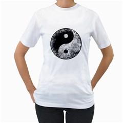 Grunge Yin Yang Women s T Shirt (white) (two Sided)