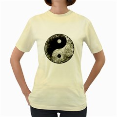 Grunge Yin Yang Women s Yellow T Shirt