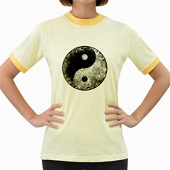 Grunge Yin Yang Women s Fitted Ringer T Shirts