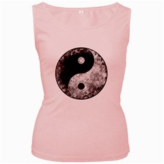 Grunge Yin Yang Women s Pink Tank Top