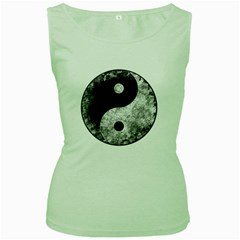 Grunge Yin Yang Women s Green Tank Top