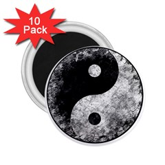 Grunge Yin Yang 2 25  Magnets (10 Pack)