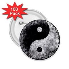 Grunge Yin Yang 2 25  Buttons (100 Pack)