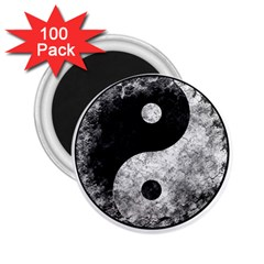Grunge Yin Yang 2 25  Magnets (100 Pack)