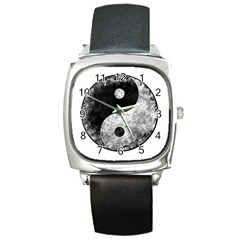 Grunge Yin Yang Square Metal Watch