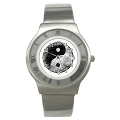 Grunge Yin Yang Stainless Steel Watch