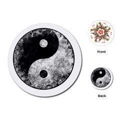 Grunge Yin Yang Playing Cards (round)