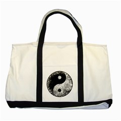 Grunge Yin Yang Two Tone Tote Bag