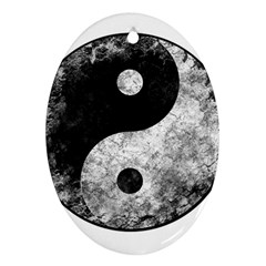 Grunge Yin Yang Oval Ornament (two Sides)