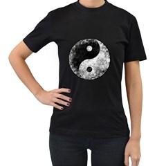 Grunge Yin Yang Women s T Shirt (black)