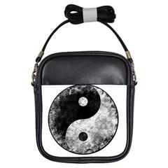 Grunge Yin Yang Girls Sling Bags