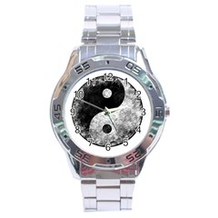 Grunge Yin Yang Stainless Steel Analogue Watch