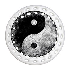 Grunge Yin Yang Ornament (round Filigree)