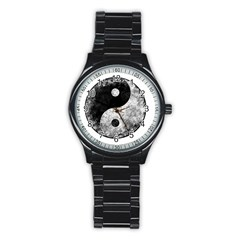 Grunge Yin Yang Stainless Steel Round Watch