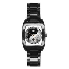 Grunge Yin Yang Stainless Steel Barrel Watch