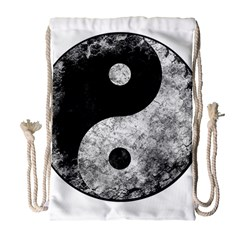 Grunge Yin Yang Drawstring Bag (large)