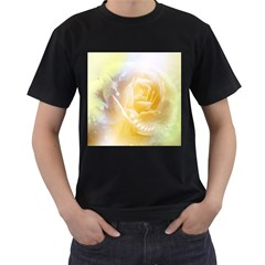Beautiful Yellow Rose Men s T Shirt (black) (two Sided)