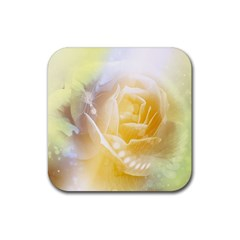 Beautiful Yellow Rose Rubber Square Coaster (4 Pack)