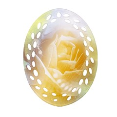 Beautiful Yellow Rose Oval Filigree Ornament (two Sides)